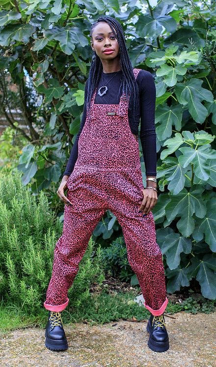 Run & Fly Pink Leopard Stretch Twill Dungarees