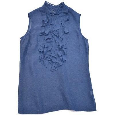 Sleeveless Blue Ruffle Blouse