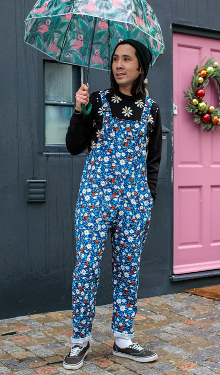 Run & Fly Retro Daisy and Ladybird Stretch Twill Dungarees