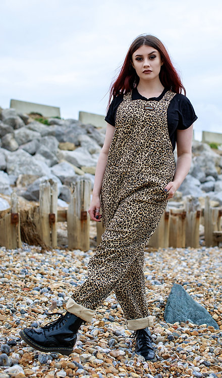 Run & Fly Natural Leopard Stretch Twill Dungarees