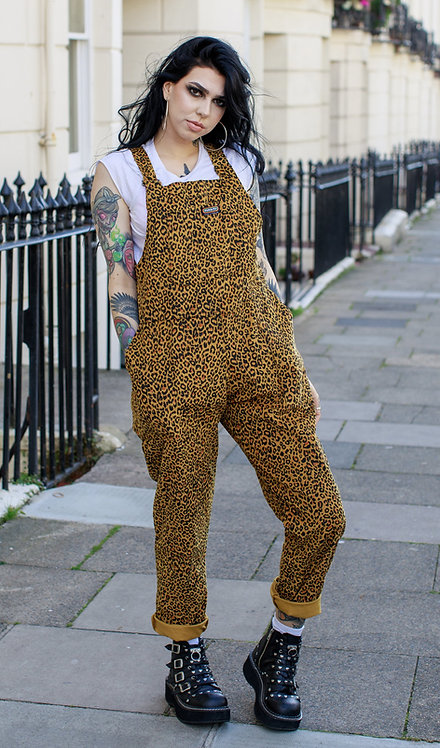 Run & Fly Natural Leopard Print Corduroy Dungarees
