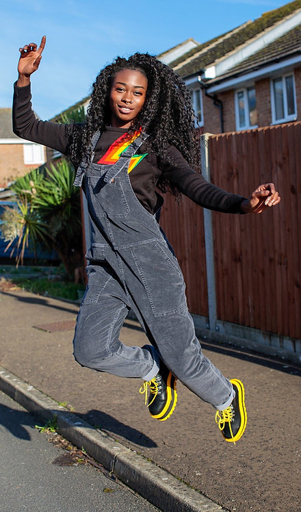 Run & Fly Black Charcoal Stretch Corduroy Dungarees