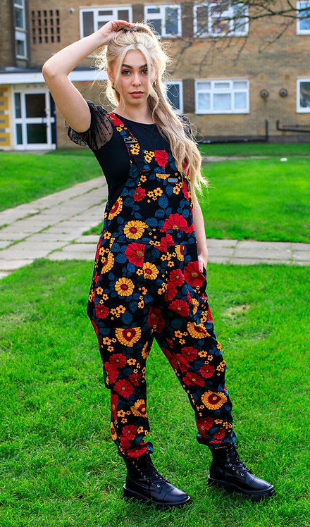 Run & Fly Retro Floral Stretch Twill Dungarees