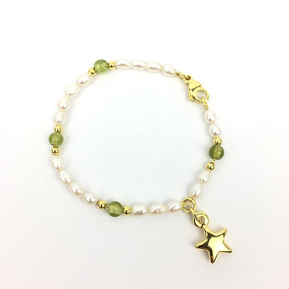 Wertvolles Echtperlen-Bracelet mit Peridot