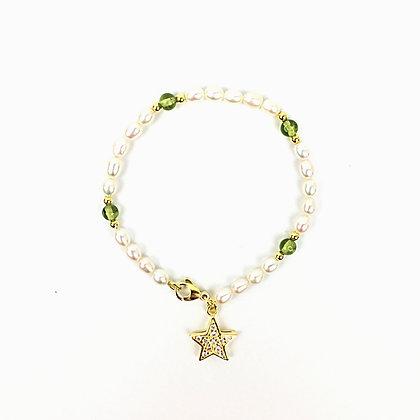Echtperlen-Bracelet mit Peridot