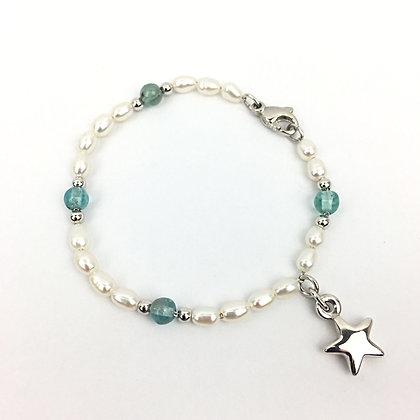Wertvolles Echtperlen-Bracelet mit Apatit