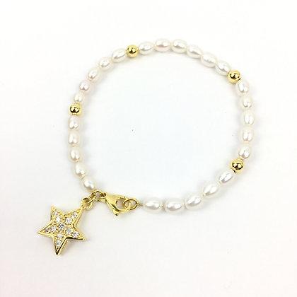 Echtperlen-Bracelet mit Goldkügelchen
