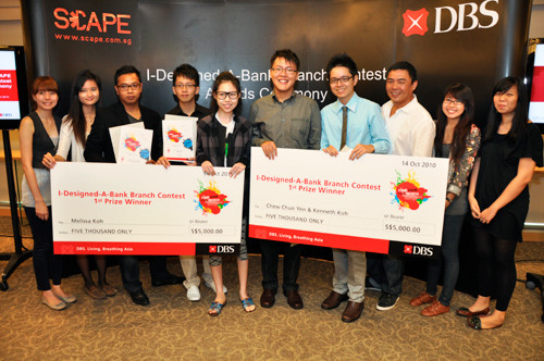 DBS I-Designed-A-Bank Competition: Melissa Koh, took first place with her bright & unconventiona