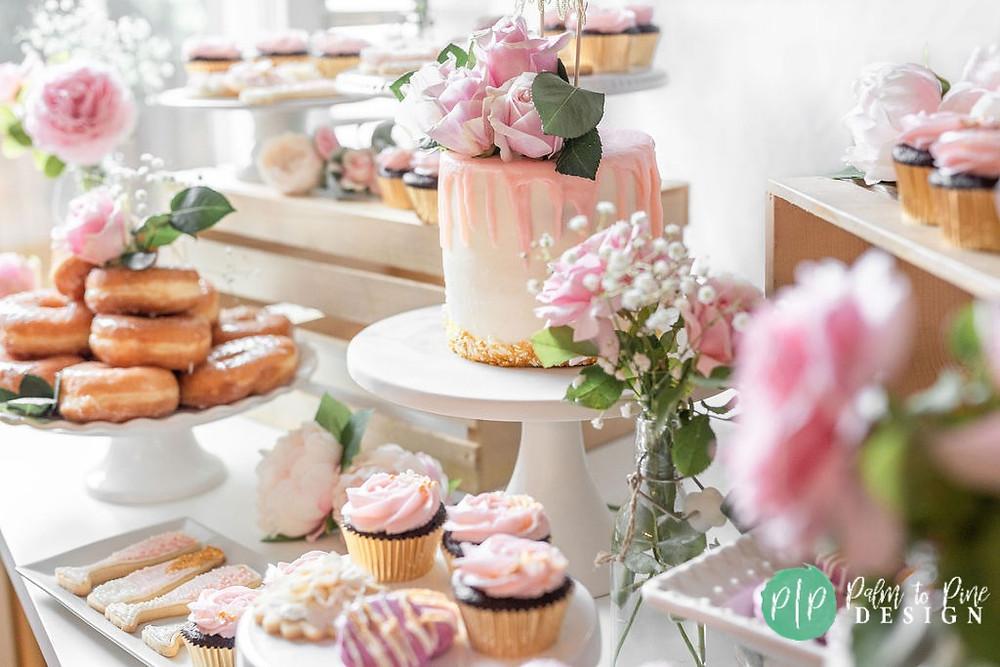 pink floral dessert table, bridal shower dessert table