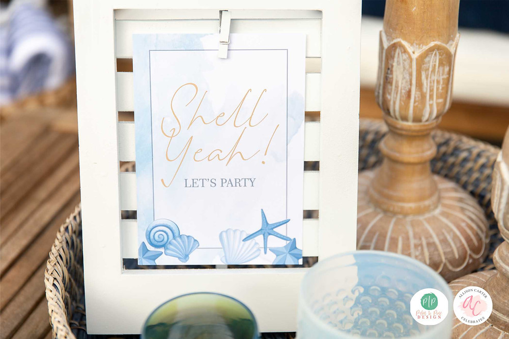 beach party signs, beach party pun, custom party decorations