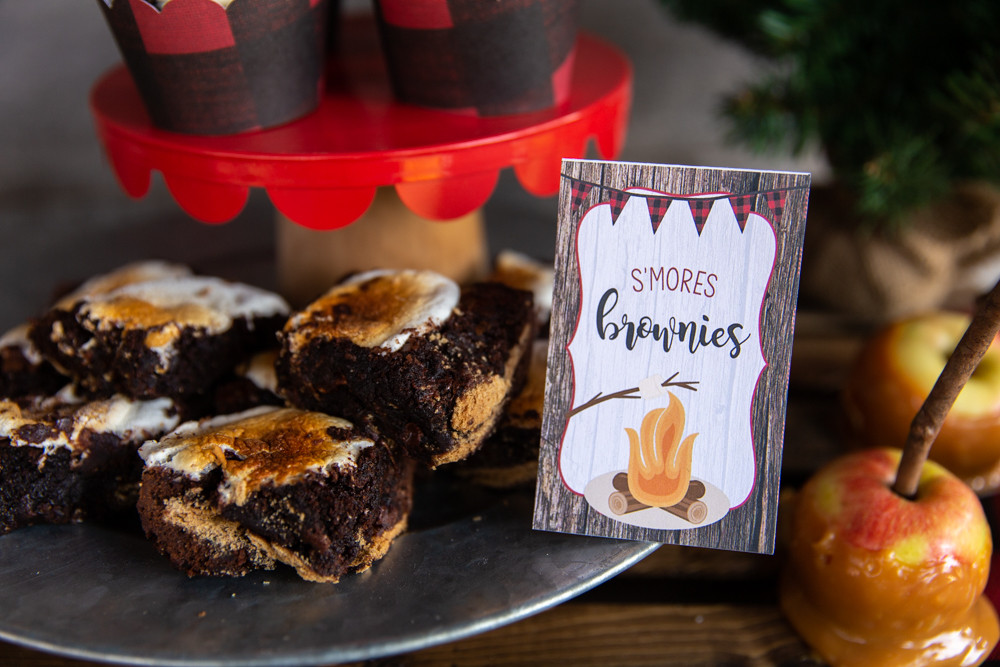 S'mores Brownies Food Tent Card, Camping Party Decorations