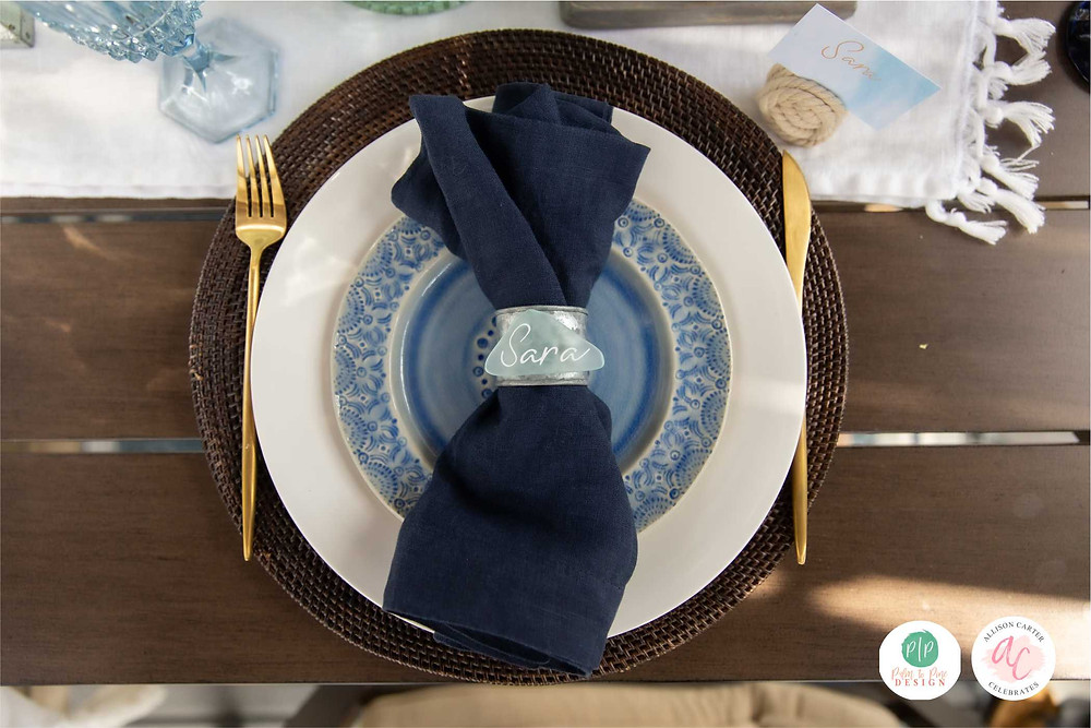 place card, blue place setting, blue table setting