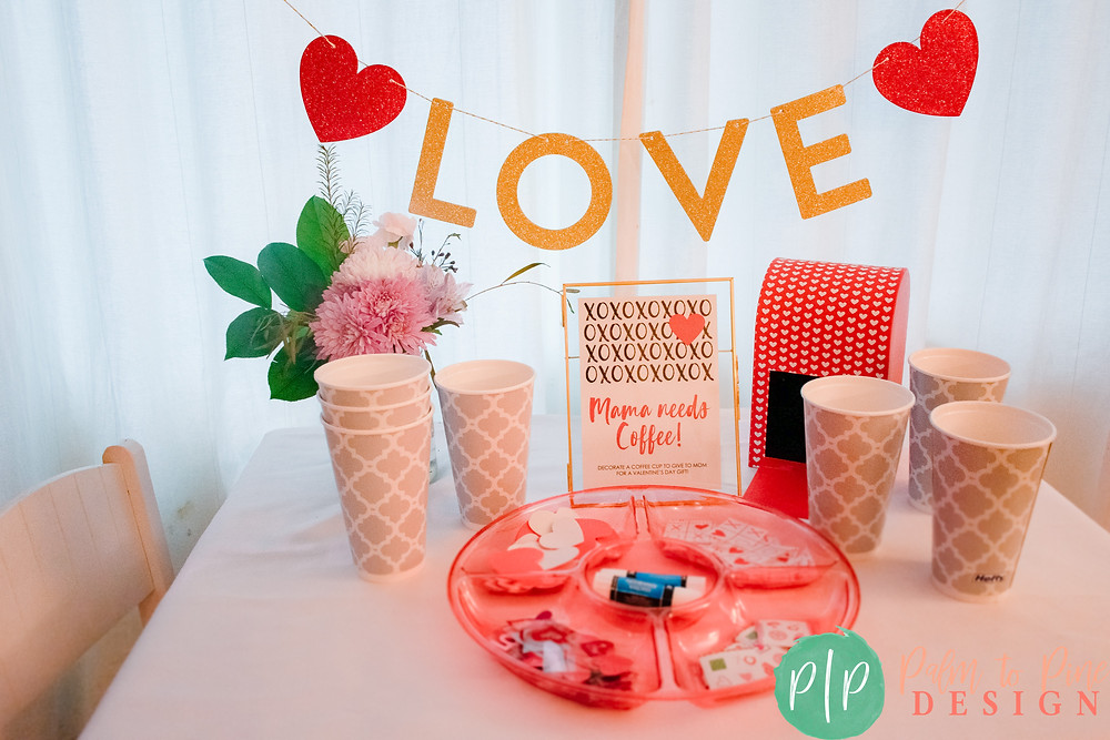 Easy Valentines Party Crafts, Decorate a coffee cup for mom