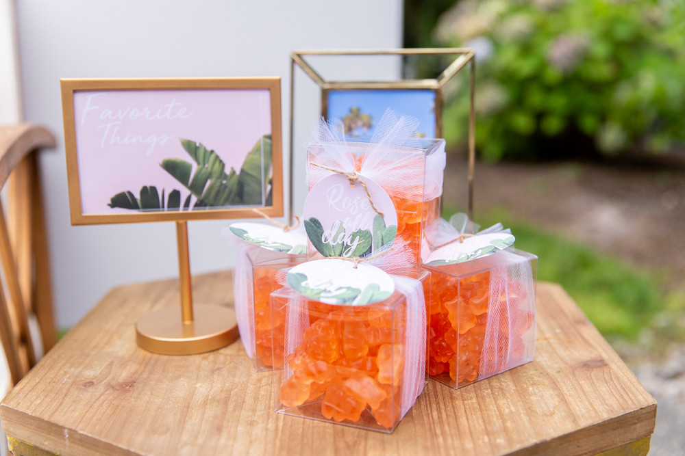 Rosé All Day Gummy Bears, favorite things party favors, gummy bear party favors