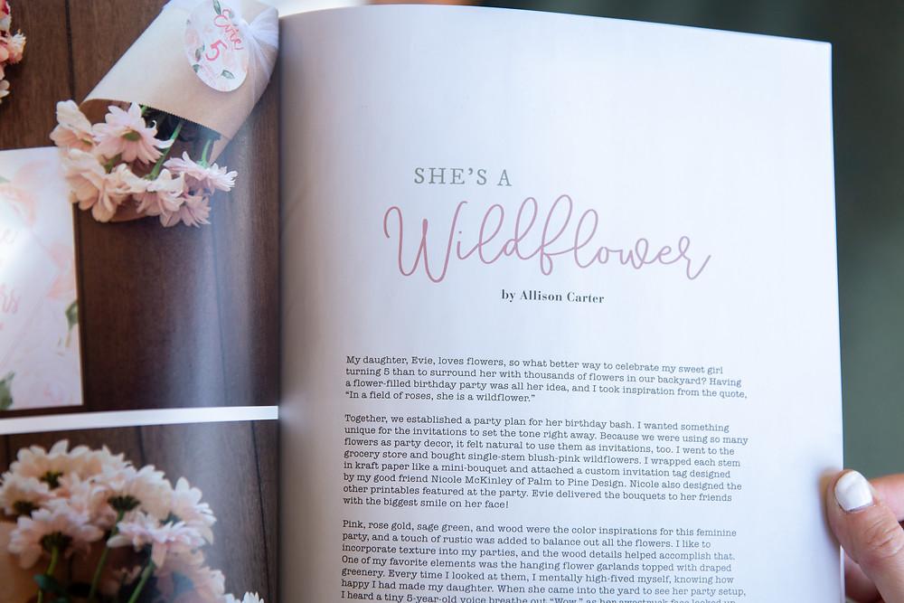 Mingle Magazine, Wildflower Birthday Party