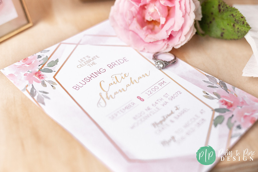 bridal shower invitation, pink floral