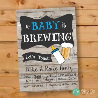 A Baby is Brewing, Co-Ed Baby Shower Invite