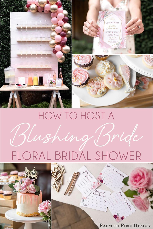 blushing bride floral bridal shower