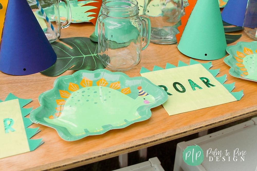 dino birthday plates, dino tabletop decor