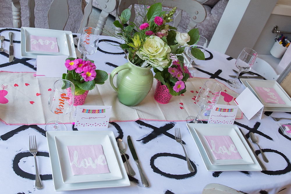 galentines brunch table setting