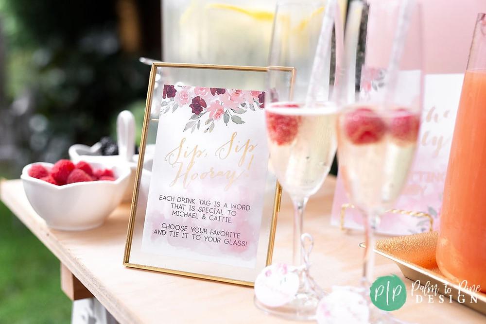 sip, sip hooray bridal shower signs