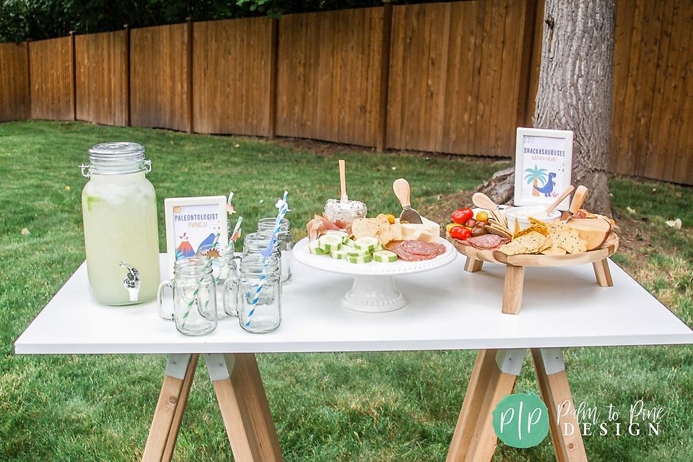 dinosaur birthday snacks, dinosaur party food and drinks