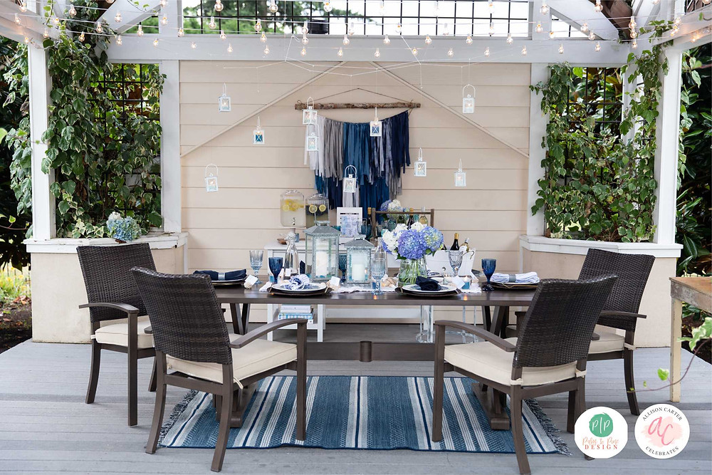 outdoor entertaining, blue tablescape, outdoor party