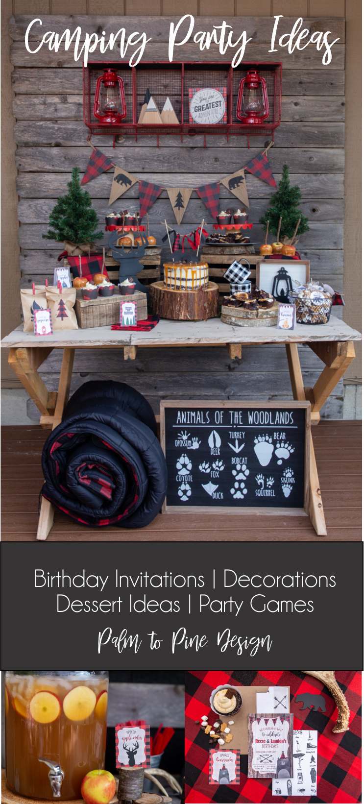 Camping Party Ideas, Decorations and dessert, lumberjack birthday party