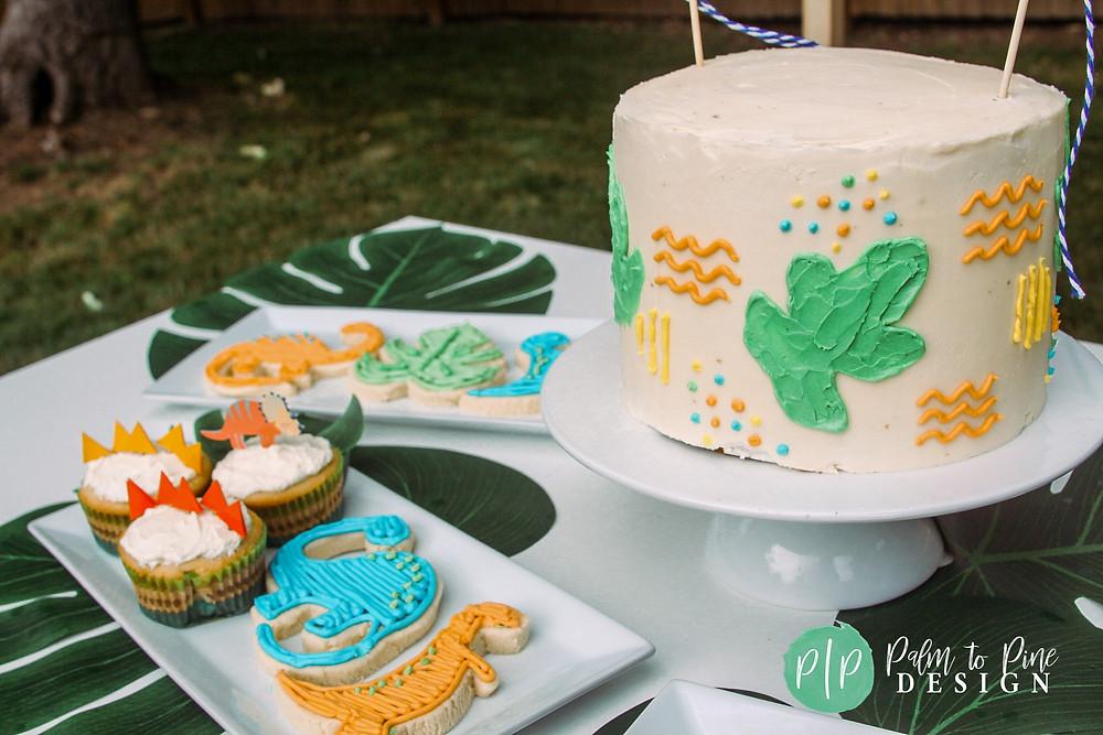 dinosaur birthday cake, dino cake, dino cupcakes, dino cookies