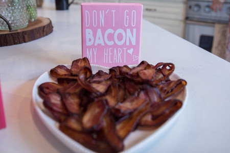 Valentine's Brunch Food, Heart Shaped Bacon