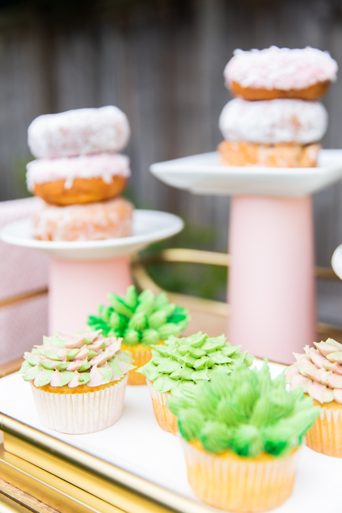 succulent cupcakes, donut tower, pink donut stand