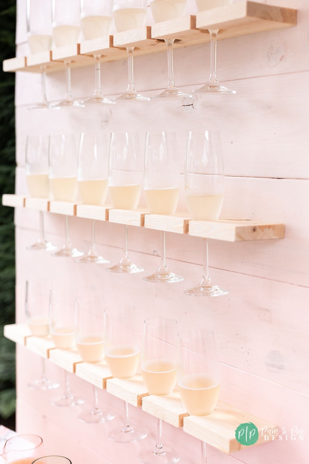 pink wood champagne wall