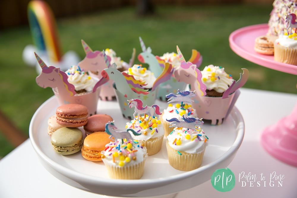 unicorn party desserts, unicorn cupcakes, custom sprinkles, unicorn cupcake wrappers