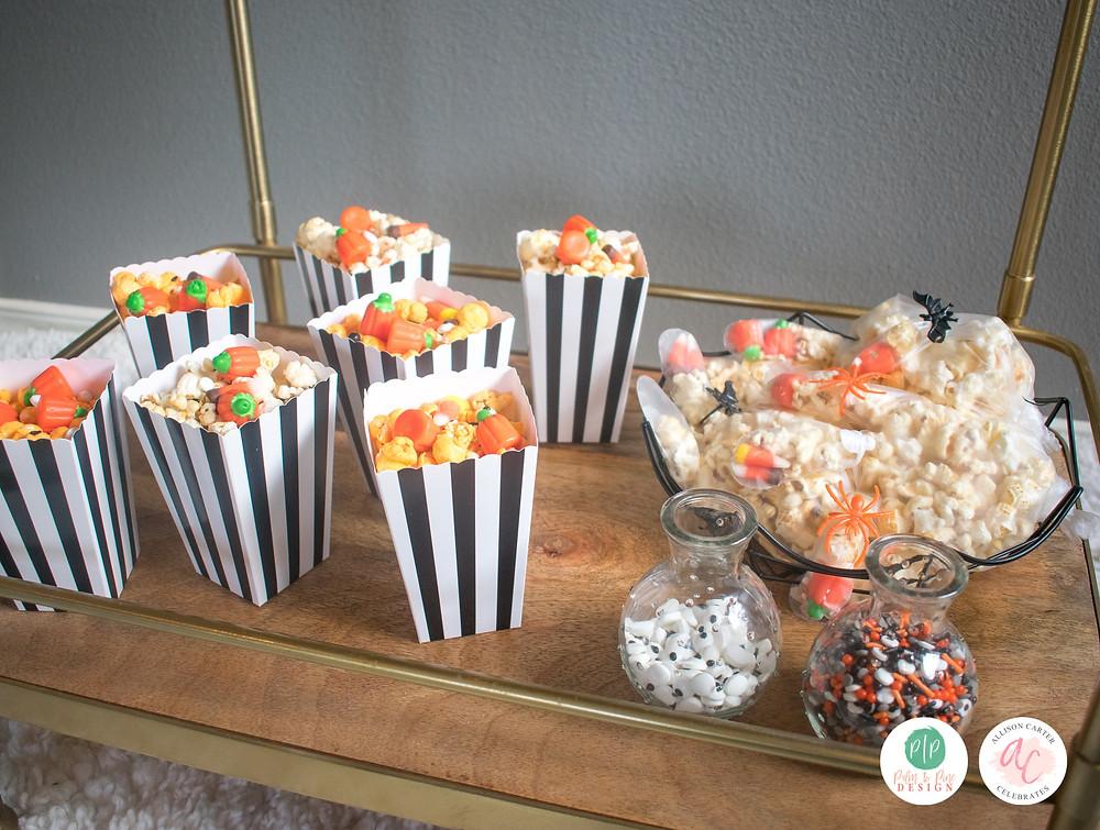 halloween popcorn bar, halloween popcorn hands, easy halloween snacks