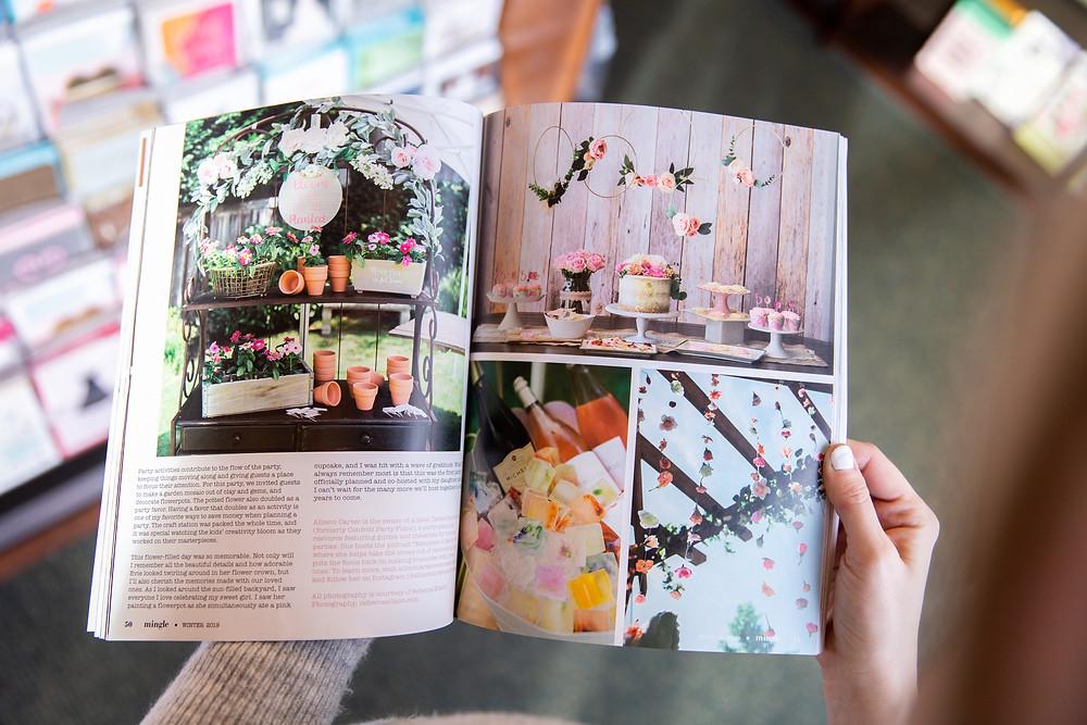 floral birthday party magazine spread