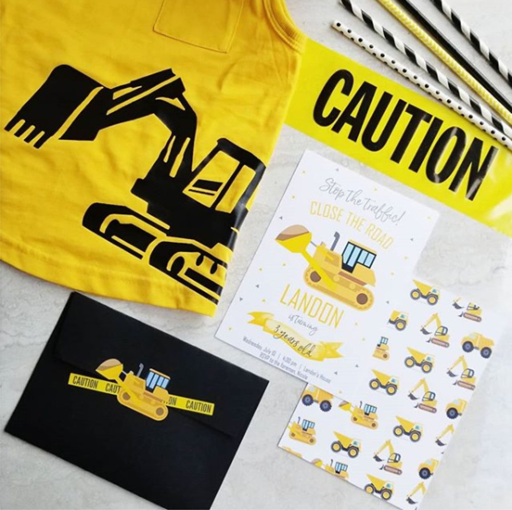 Construction Birthday Invitation Flatlay, modern construction birthday