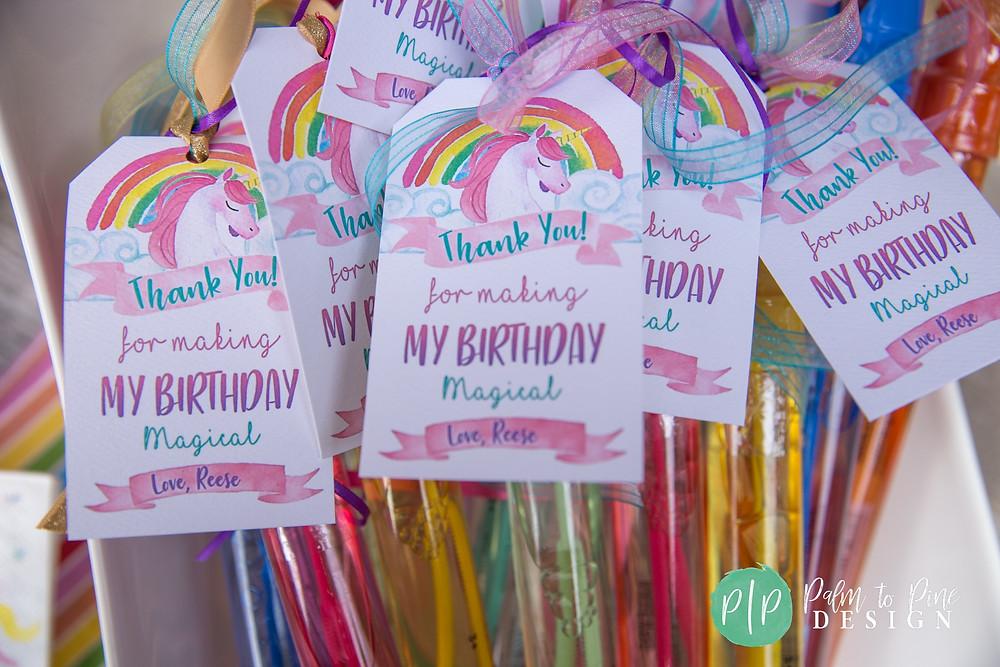 unicorn birthday bubble wand tags