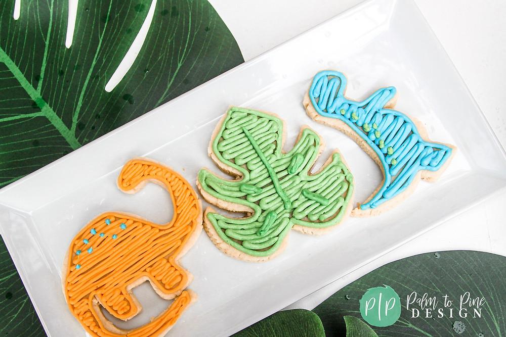 dinosaur cookies, dino sugar cookies, dino cookies, dinosaur party desserts