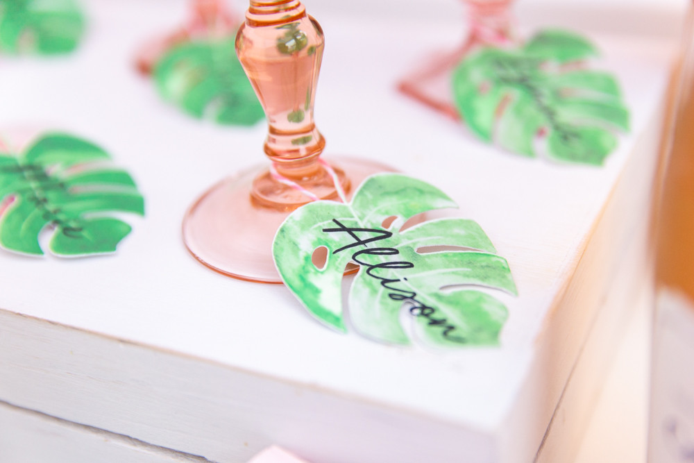 Palm leaf drink tags, tropical party cocktails