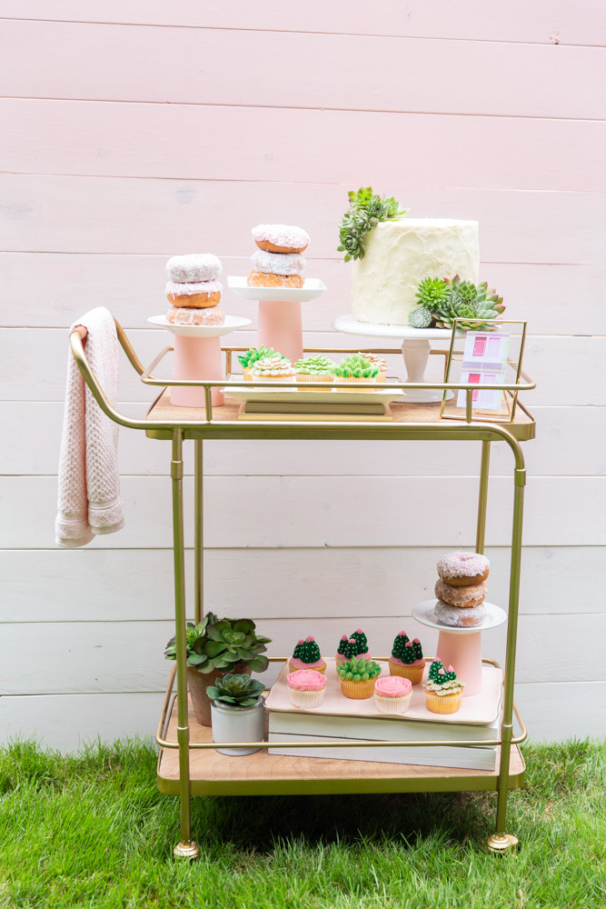 pink bar cart, beach inspired dessert table, succulent cake topper