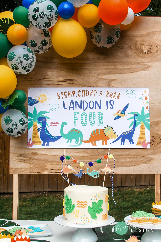 dinosaur dessert table, dino birthday banner, dino party decor