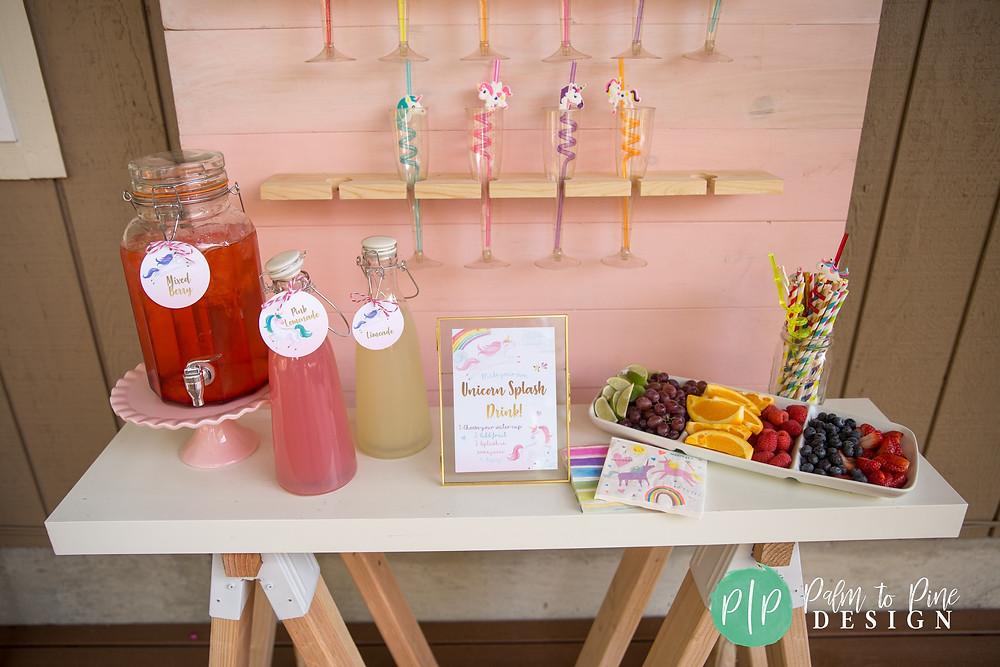 unicorn birthday party ideas, bar cart for kids birthday