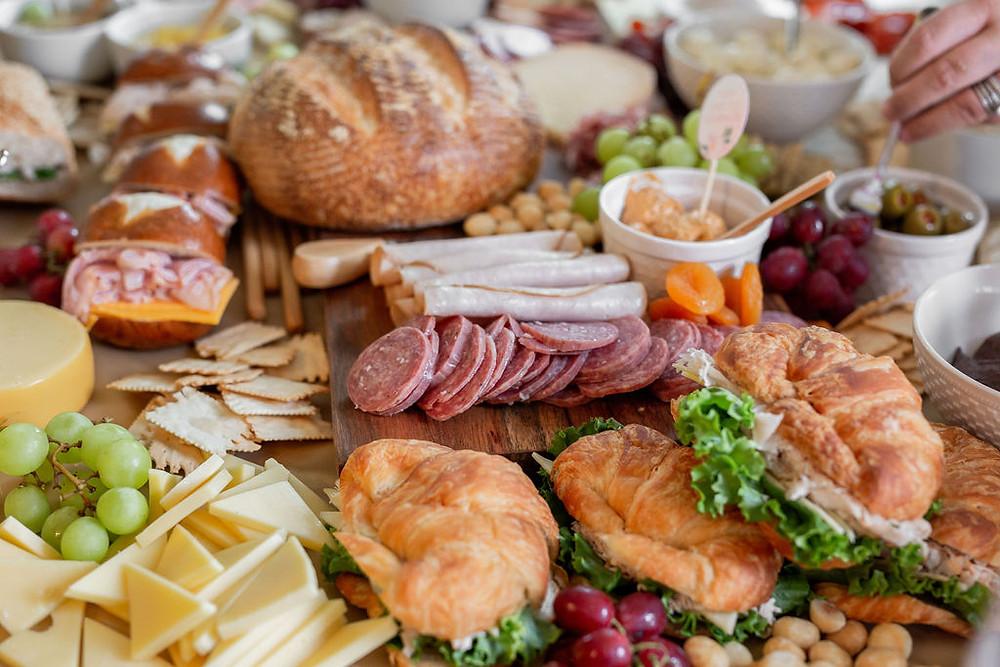 charcuterie board, bridal shower food