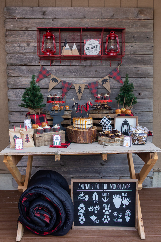 Camping Party Dessert Table, Lumberjack Buffalo Plaid Party Desserts