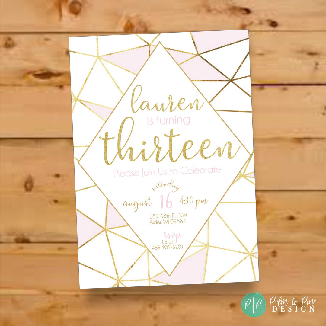 13th Birthday Invitation, Teen Girl Birthday Invite