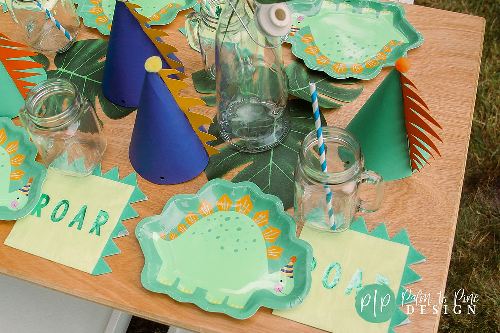 dinosaur birthday hats, dino birthday plates, dino napkins