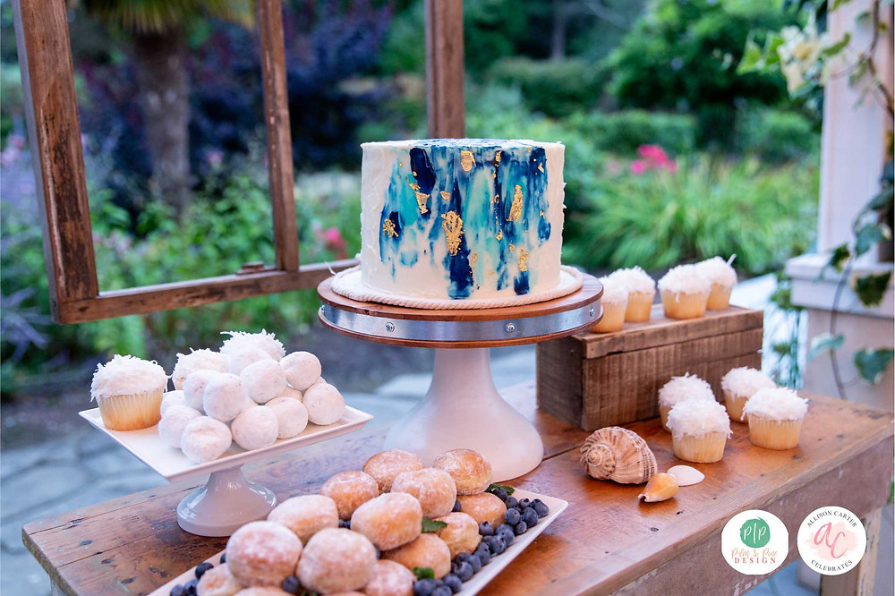 blue watercolor cake, dessert table, outdoor dessert table
