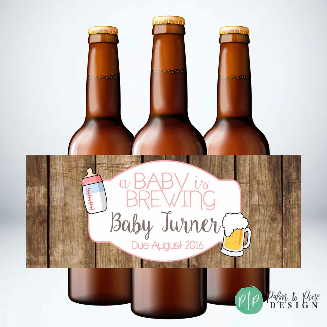 A Baby is Brewing Beer Bottle Labels