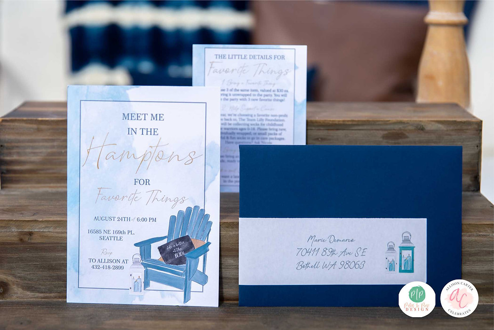custom invitation, party invite, beach party invitation