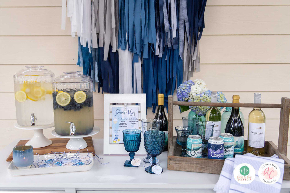 wine bar, blue ombre bar set up, outdoor entertaining, tablescape
